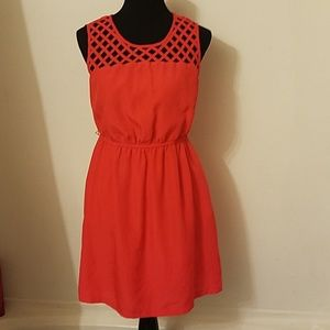 Sz 8 pumpkin orange sleeveless net an linned